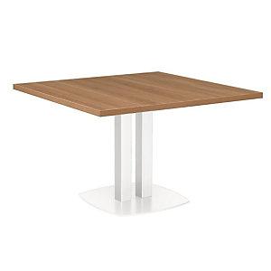 Table de réunion Sunniva L.115 cm x P. 115 cm - Plateau carré Merisier Italien - Pieds métal blancs