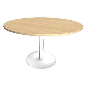 Table ronde Initial - Diamètre 120 cm - Plateau Chêne clair - Pied central métal Blanc