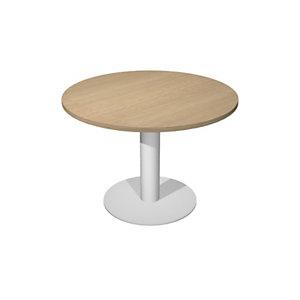 Table ronde de réunion Eminence Ø 100 cm  Plateau Chêne Pied tulipe métal Blanc