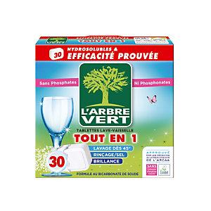 Tablettes de lavage écologiques cycle long L'Arbre Vert Tout en 1, 30 tablettes