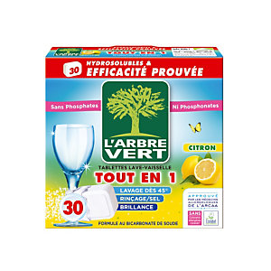 Tablettes de lavage écologiques cycle long L'Arbre Vert Tout en 1 parfum citron, 30 tablettes