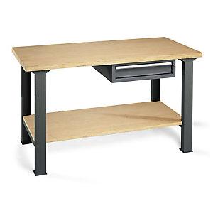 Établi d'atelier en bois avec bloc-tiroir et plateau inférieur