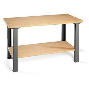 Établi d'atelier en bois avec  plateau inférieur