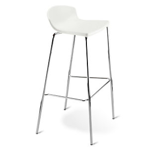 Tabouret haut de restauration Fingal -Assise polypropylène Blanc (Lot de 4)