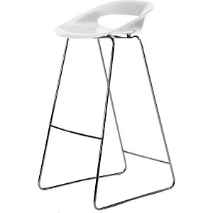 Tabouret haut de restauration Glas - Piètement Filo chromé    - Blanc
