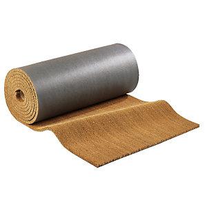 Tapis brosse coco en rouleau de  12,5 x 2 m épaisseur 17 mm coloris naturel