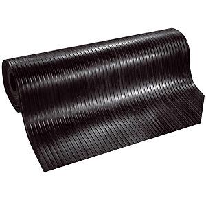 Tapis caoutchouc cannelé au mètre linéaire, largeur 1,20 m noir