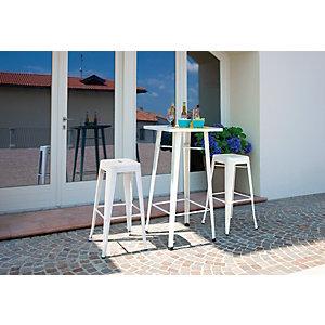 Tavolino da giardino Plate, 60 x 60 x 108 cm, Lamiera galvanizzata, Avorio