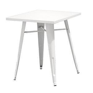 Tavolino da giardino Plate, 60 x 60 x 73 cm, Lamiera galvanizzata, Avorio