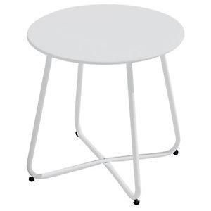 Tavolino rotondo da giardino Provence, ø 45 cm, Ferro epoxy, Bianco