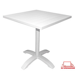Tavolo da giardino Contract, 70 x 70 x 75 cm, Alluminio, Bianco
