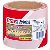 tesa® Cinta de barrera no adhesiva Signal, 80mm x 100m, polipropileno, rojo y blanco