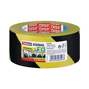 tesa® Cinta de distanciamiento social, Amarillo y Negro, 33 m x 50 mm