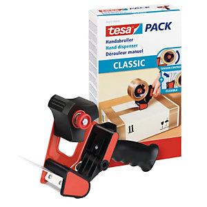 tesa® CLASSIC Dispensador de cinta de mano clásica con agarre de pistola negro y rojo 56403