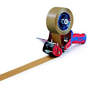 tesa® Dévidoir manuel pour rouleau de ruban adhésif jusqu'à 50 mm de large avec poignée pistolet - Bleu et rouge