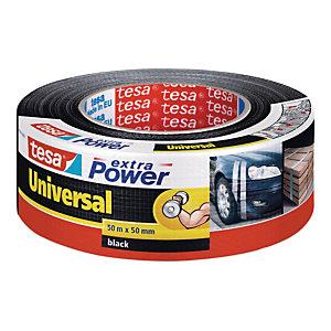 tesa® Extra Power Nastro isolante universale, 50 mm x 50 m, Rinforzato in tessuto, Nero (confezione 6 rotoli)