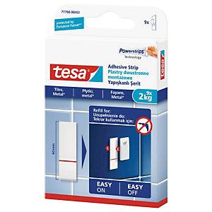 TESA Lot de recharge Powerstrips® pour clous adhésifs pour carreaux et métal, 2 kg, blanc 77760 (paquet 9 unités)