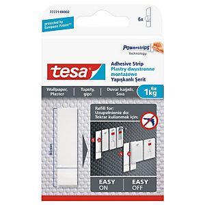 tesa® Lot de recharges Powerstrips® pour clous adhésifs pour papier peint et plâtre, 1kg blanc77771
