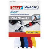 tesa® On & Off Bundling 55236 Organizador de cables Paquete de 5 bridas de colores surtidos de 12 mm x 20 cm