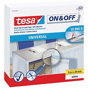 tesa® On & Off Universal 55276 Rollo de cinta autoadhesiva de 20 mm x 5 m en blanco