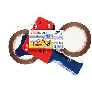 tesa® Pacchetto promozionale Nastro adesivo Include Dispenser tendinastro Blu e Rosso con Nastro tesapack® Ultra Strong in PVC Marrone 2 Rotoli 50 mm x 60 m