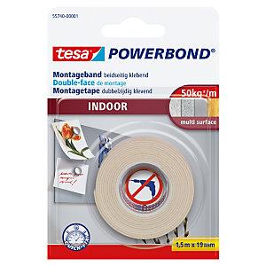 tesa® Powerbond® INDOOR Cinta de montaje de doble cara blanca 19mm x 1,5m 55740