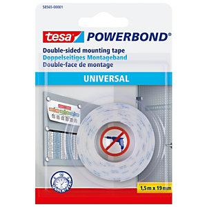 tesa® Powerbond® Universal Cinta montaje de doble cara blanca 19 mm x 1,5 m 58565