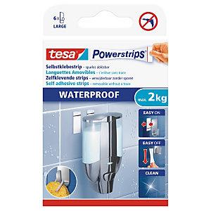 tesa® Powerstrips® 58003 languettes amovibles de fixation double face waterproof, blanc