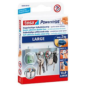 tesa® Powerstrips® LARGE Strisce per affissione biadesive, Bianco (confezione 10 pezzi)