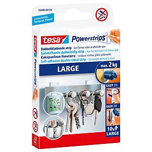 tesa® Powerstrips® Tiras grandes de fijación de doble cara autoadhesivas blanco paquete de 10