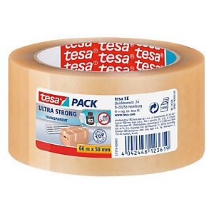 tesa® Ruban adhésif d'emballage tesapack PVC Ultra Strong 65 microns - 50 mm x 66 m - Transparent
