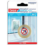 TESA Ruban double-face de fixation transparent, transparent et verre, charge 20kg/m, Format L1,5m x l19mm