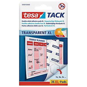 tesa® TACK® Puntos adhesivos XL de doble cara, transparentes, 36 puntos