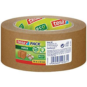 tesa® tesapack ecoLogo, Cinta de Embalar Papel ecológico Extrafuerte Se corta con la mano, 50 mm x 50 m, Marrón
