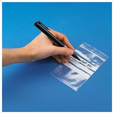Assortiment de sachets à bandes blanches zip 50 microns##Testpakket transparante gripzakjes met witte stroken 50 micron
