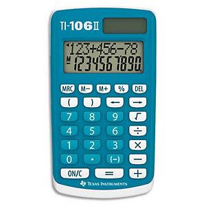 TEXAS INSTRUMENTS Calculatrice 4 opérations pour classes primaires TI-106II affichage 2 lignes Bleue