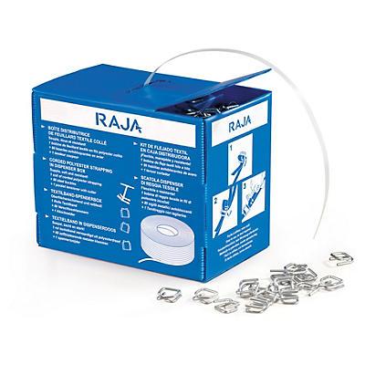 Pack de cerclage manuel textile en boîte distributrice##Textielband voor omsnoering in dispenserdoos