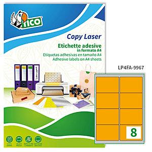 TICO Etichetta adesiva LP4F - permanente - 99,1x67,7 mm - 8 etichette per foglio - arancio fluo - Tico - conf. 70 fogli A4