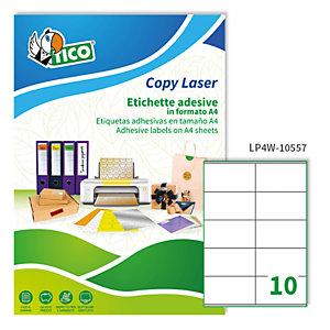 TICO Etichetta adesiva LP4W - permanente - 105x57 mm - 10 etichette per foglio - bianco - Tico - conf. 100 fogli A4