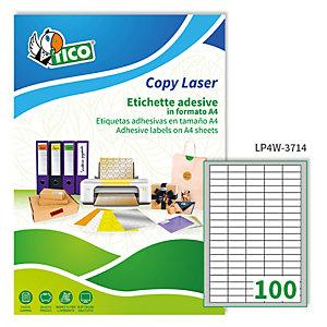 TICO Etichetta adesiva LP4W - permanente - 37x14 mm - 100 etichette per foglio - bianco - Tico - conf. 100 fogli A4