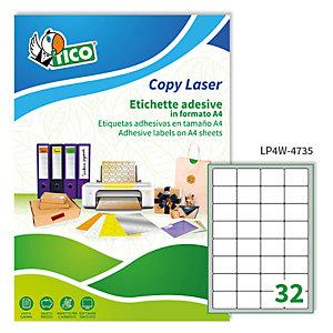 TICO Etichetta adesiva LP4W - permanente - 47,5x35 mm - 32 etichette per foglio - bianco - Tico - conf. 100 fogli A4