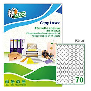TICO Etichetta adesiva PG4 - permanente - tonda ø 25 mm - 70 etichette per foglio - bianco lucida - Tico - conf. 100 fogli A4