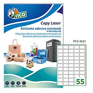 TICO Etichetta in poliestere PC4 -  adatta a stampanti laser - permanente - 36x22 mm - 55 etichette per foglio - trasparenti - Tico - conf. 100 fogli A4