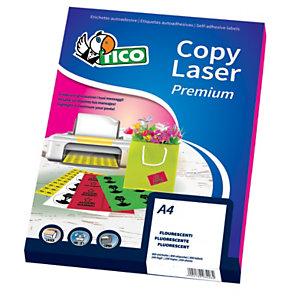 TICO Etichette in carta fluorescente, Per stampanti laser e inkjet, A4, 70 fogli, 1 etichetta per foglio, Verde Fluo