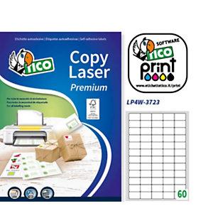 TICO Etichette multifunzione, Angoli arrotondati, Per stampanti Laser, Inkjet, 37,5 x 23,5 mm, 100 fogli, 60 etichette per foglio, Bianco