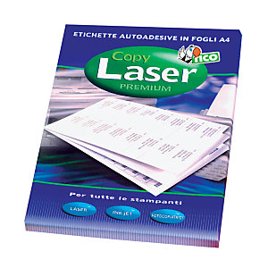 TICO Etichette multifunzione, Con margini, Per stampanti Laser, Laser a colori, Inkjet, Copiatrici, 105 x 48 mm, 100 fogli, 12 etichette per foglio, Bianco