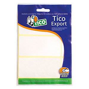 TICO Export Etichette autoadesive, 74 x 38 mm, 10 fogli, 6 etichette per foglio, Bianco