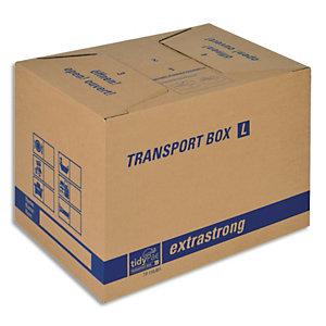 TIDYPAC Carton de déménagement double cannelure format L - Dimensions : L50 x H35 x P35,5 cm brun