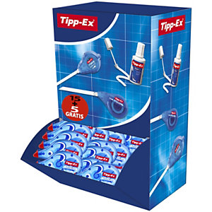 Tipp-Ex Roller de correction Pocket Mouse 4,2mm x 10m Bleu translucide - Pack de 10 + 5 OFFERTS
