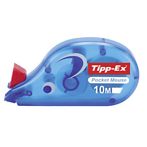 Tipp-Ex Roller de correction Pocket Mouse 4,2mm x 10m Bleu translucide